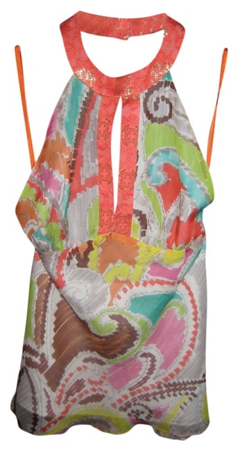 Item - Multi Color with Gold Detals Chain Halter Top Size 0 (XS)