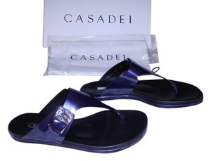 Casadei Candylux Jeweled Stunning Contoured Footbed Made In Italy Blue Sandals