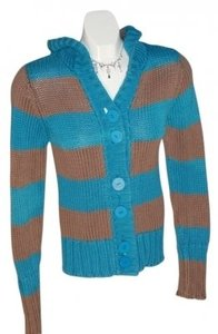 X NATION X Sweater Size M Chunky! Warm Turquoise & Tan Stripes Sweatshirt