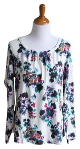 Lands' End Floral Watercolor Top cream, multi