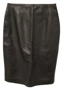 INTERMIX Leather Knee-length Skirt Black