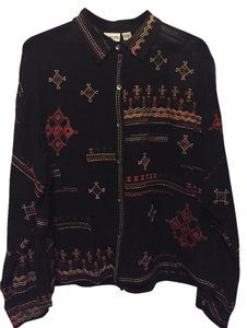 Chico's Embroidered Sheer Button Down Shirt Black, red, gold, green