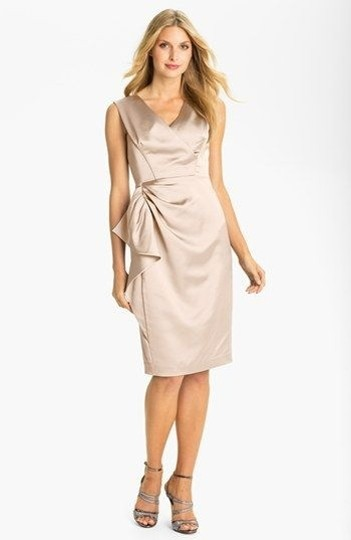 Maggy London Champagne Stretch Satin Modern Bridesmaid/Mob Dress Size 8 (M)