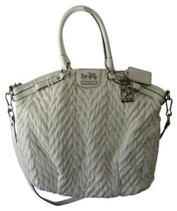 Coach Zip Top Closure Inside Zip Cell Phone Silver Hardware Satchel in Winter white