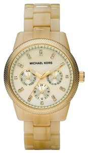 Michael Kors NEW! Michael Kors MK Gold Tone Horn Acrylic Mid-Size Chronograph Glitz Watch Mother of Pearl ~NO TAG~