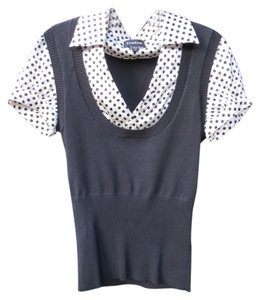 bebe Silk Sweater Vest One-piece Top Black and White