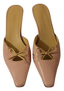 Saks Fifth Avenue Bow Leather Slip-on Heeled Pink Mules
