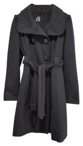 Guess Button Belted Funnel Neck Trench Coat