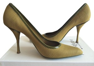 Saint Laurent Stiletto Patent Leather Tweed Green Pumps