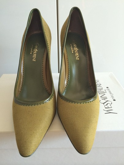 Saint Laurent Stiletto Leather Tweed Green Pumps