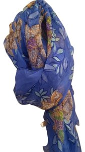 Cartier Cartier Blue Silk Scarf with Flowers and Birds