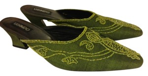 Other Heeled Green Dressy Embellished Beaded Slip-on Emerald green Mules