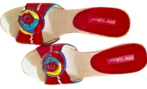 Betsey Johnson red multi colored leather Platforms