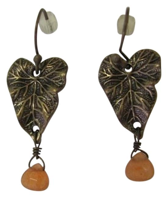 Goldtone Light Brown Leaf with Bead Earrings Goldtone Light Brown Leaf with Bead Earrings Image 1