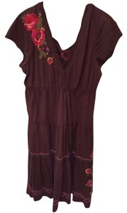 JWLA short dress Brown Johnny Was Bohemian Peasant Embroidered Rose on Tradesy