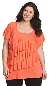 AGB Made In Usa Flutter Sleeves Tiered Ruffles Unlined Top Orange