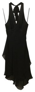 BCBGMAXAZRIA Silk Chiffon Halter Hi Lo Empire Waist Dress