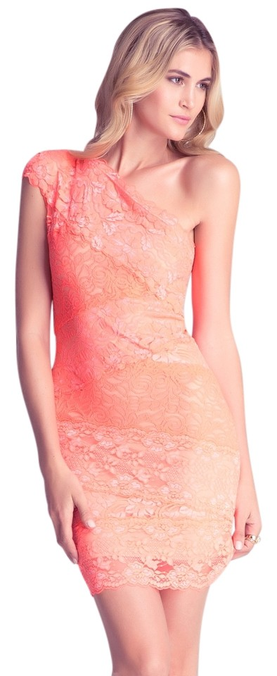 caff609faaa3 bebe short dress Coral Lace One Shoulder Bodycon Bandage on Tradesy Image 0  ...