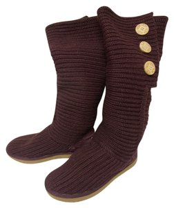 UGG Australia Knee High Mid-calf Knit Burgundy Boots