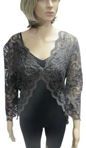 Lace Sheer Top Charcoal