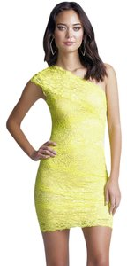 bebe short dress Yellow Mixed Lace One Shoulder on Tradesy