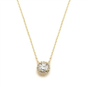 Delicate A A A Crystal Pave Gold Pendant Necklace