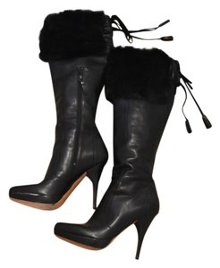 Via Spiga Leather Fur Stiletto Black Boots