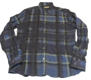 Burberry Brit Check Flannel Button Down Shirt Navy blue