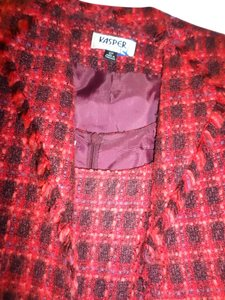 Kasper KASPER Women's 2PINK & BURGUNDY TWEED size 12P SKIRT SUIT Fringe 2 Pc DRESS Suit