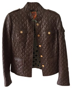 Tory Burch Detailed Lining Leather Brown Leather Jacket