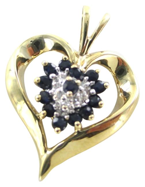 Gold 10kt Yellow Heart Pendant with Diamonds Charm Gold 10kt Yellow Heart Pendant with Diamonds Charm Image 1