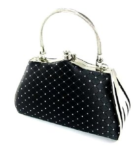 Unknown Satin Rhinestone Metal Silver Tote in Black
