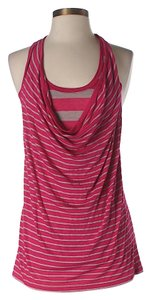 Splendid Nwt Striped Racer-back Top Pink & Grey