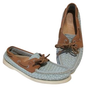Sperry Light Leather Woven Green Flats
