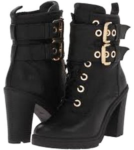 Guess Lace Up Gold Biker Leather Black Boots