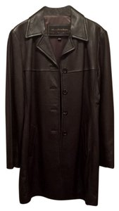 Marc New York Long Leather Lamb Leather Brown Leather Leather Trench Leather Trench Coat
