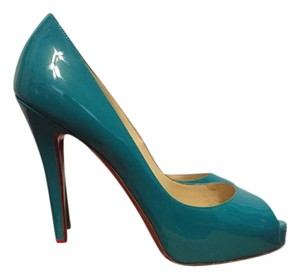 Christian Louboutin Peep Toe Leather Very Prive Blue Green Jade Pumps