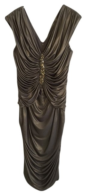 Item - Silver Gold Long Night Out Dress Size 16 (XL, Plus 0x)