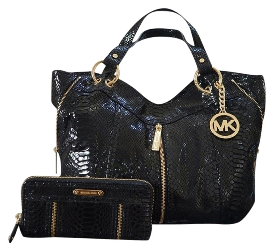 d4b0d9334380 Michael Kors 3 Piece Set (Free Ship) Moxley Matching Wallet & Mk Mirror  Msrp & Black Embossed Python Leather Tote
