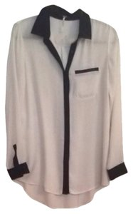 Free People Button Down Shirt White with Black Trim