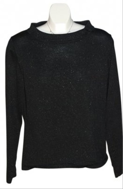 Liz Claiborne Black With Shimmer/sparkle Throughout Size L Wide Neck Folded Over With 'cute' Bow Sweater