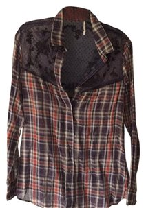 Free People Button Down Shirt Red/Blue Plaid
