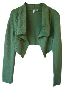 Anthropologie Moth Sweater Green Cropped Cable Knit Cardigan