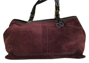 Coach Suede Classic Tote in Plum sueded w/black leather trim