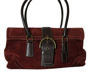 Coach Classic Suede Satchel in Burgundy suede/brown leather trim