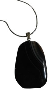 Other Sterling Silver Black Striped Agate Gemstone Pendant Necklace N069