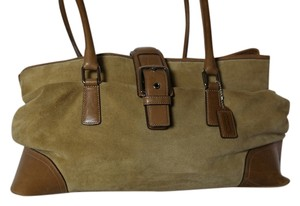 Coach Suede Casual Tote in Camel suede/tan leather