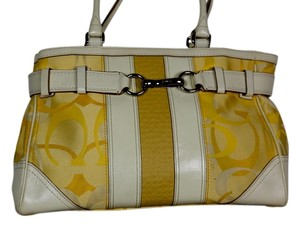 Coach White Nylon Fabric Satchel in Yellow C fabric/white leather