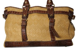 Francesco Biasia Woven Tote in Tan woven/brown stamped leather