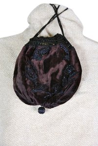 Other Silk Velvet Beaded Vintage Wristlet in Eggplant